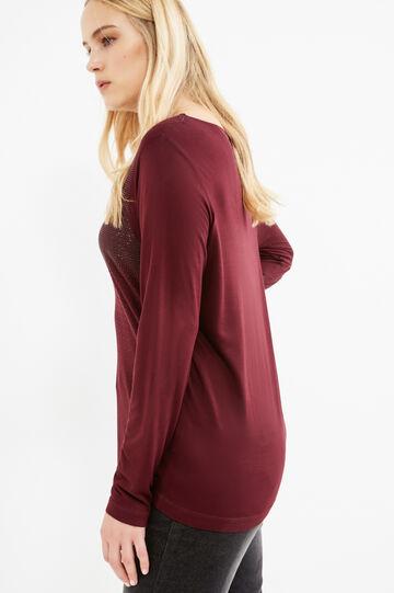 T-shirt pura viscosa con strass Curvy, Viola melanzana, hi-res