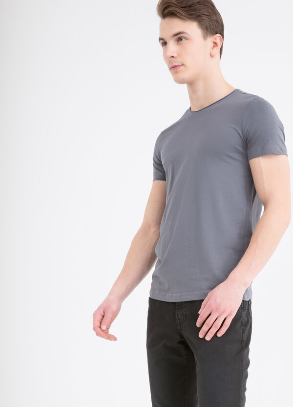 Stretch cotton T-shirt with round neck | OVS