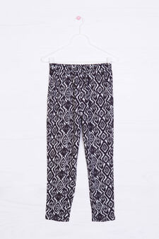 Viscose trousers with all-over print, White, hi-res