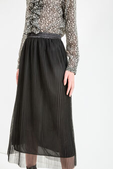 Pleated long skirt, Black, hi-res
