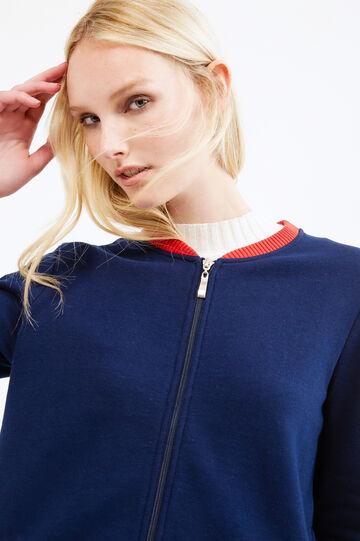 Solid colour cotton blend hoodie, Navy Blue, hi-res