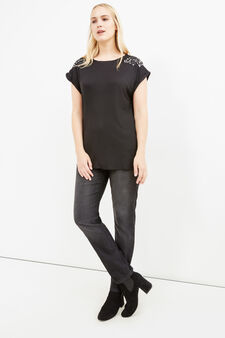 Curvy viscose T-shirt with rhinestones, Black, hi-res