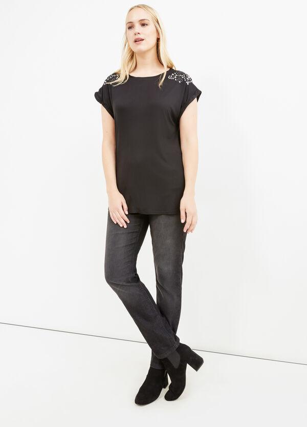 Camiseta Curvy de viscosa con strass | OVS