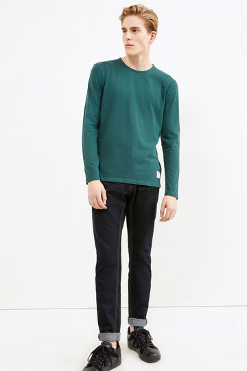 Long-sleeved T-shirt with patch, Forest Green, hi-res