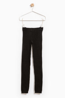 Stretch cotton knitted leggings, Black, hi-res