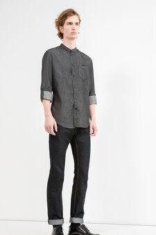 Casual denim shirt with mandarin collar, Black, hi-res