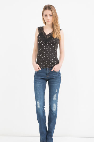 100% cotton top with lace, Black, hi-res