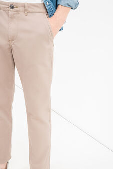 Solid colour regular-fit chino trousers, Dove Grey, hi-res