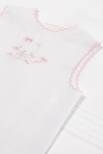 Camicetta puro cotone ricamo, Bianco/Rosa, hi-res