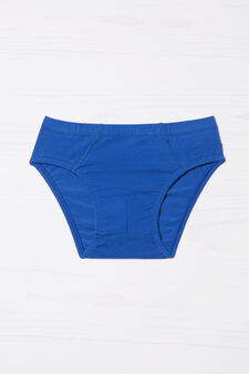 Solid colour stretch cotton briefs, Royal Blue, hi-res