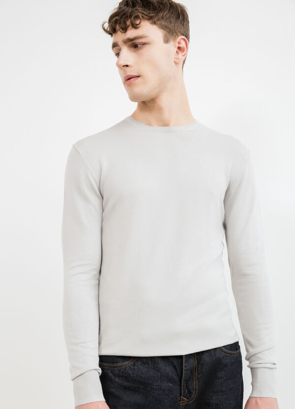 Viscose blend pullover with ribbing | OVS
