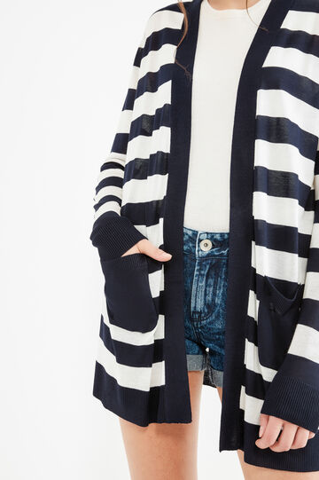 Cardigan pura viscosa fantasia a righe, Blu navy, hi-res
