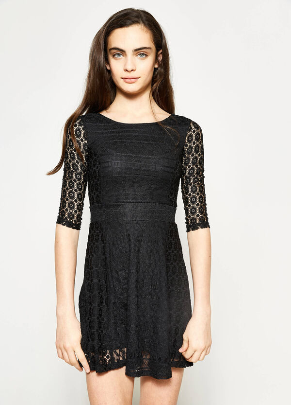 Teen lace dress with round neckline | OVS