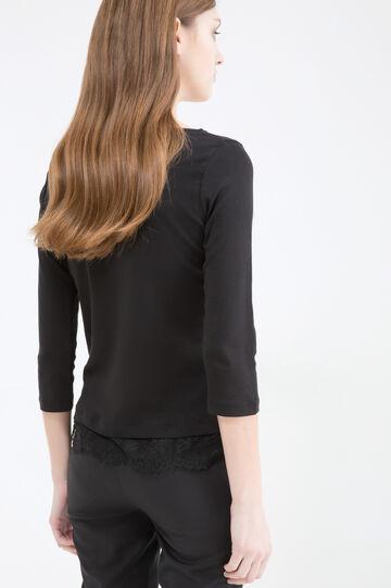 100% cotton T-shirt with lace, Black, hi-res