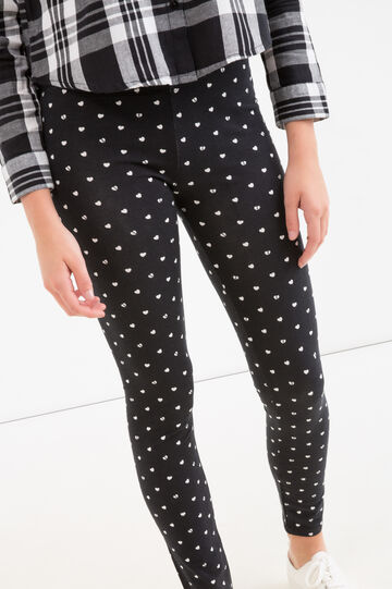 Stretch cotton leggings with Teen print, Black, hi-res