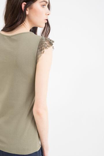 Solid colour top in 100% cotton, Khaki, hi-res