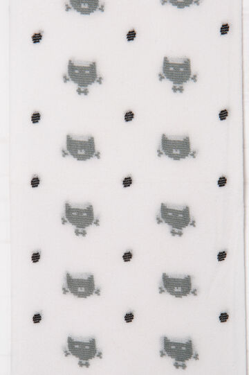 Tights with cats and polka dot pattern, White/Grey, hi-res