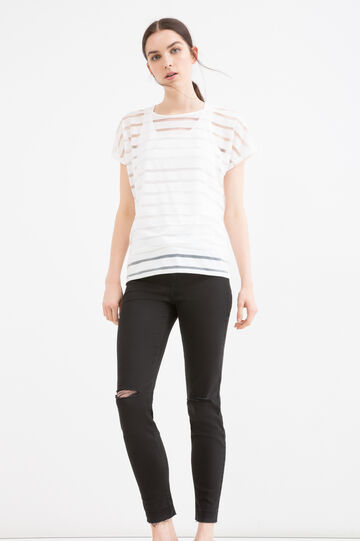 Solid colour striped T-shirt, Milky White, hi-res