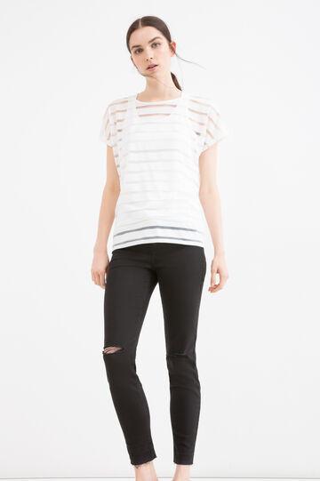T-shirt tinta unita a righe, Bianco latte, hi-res