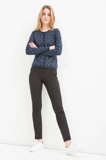 100% cotton printed cardigan, Navy Blue, hi-res