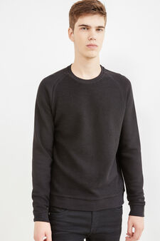 100% cotton sweatshirt with raglan sleeves, Black, hi-res