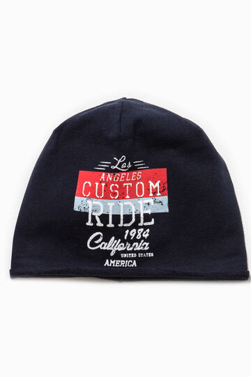 Beanie cap with printed lettering, Dark Blue, hi-res