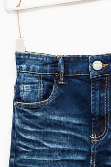 Used-effect slim-fit stretch jeans, Denim Blue, hi-res