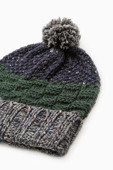 Striped beanie cap with pompom, Grey, hi-res