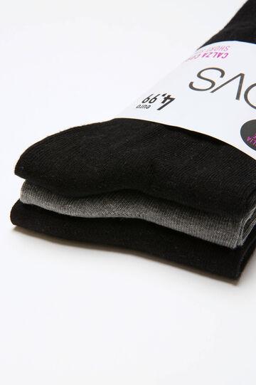 Set tre paia di calze corte cotone, Nero/Grigio, hi-res
