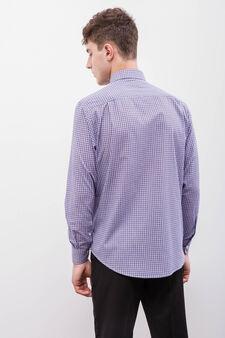 Check-patterned regular-fit formal shirt, Purple, hi-res