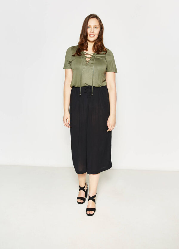 Curvy crop trousers with drawstring | OVS