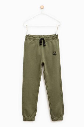 Pantaloni tuta in cotone con coulisse, Verde oliva, hi-res