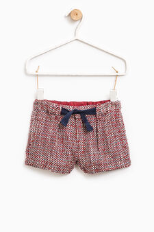 Embroidered cotton shorts, Cherry Red, hi-res