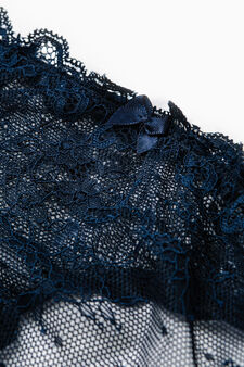 Solid colour stretch lace thong, Blue, hi-res