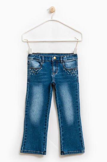 Worn-effect stretch jeans with diamantés, Denim, hi-res
