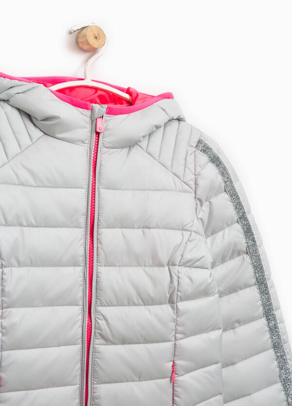 Down jacket with hood and glitter bands | OVS