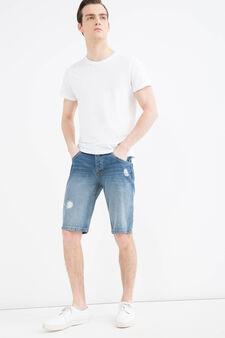 Bermuda di jeans straight fit used, Lavaggio scuro, hi-res
