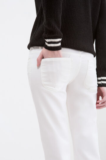 Stretch cotton trousers, Milky White, hi-res