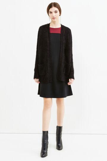 Knit cardigan with pockets, Black, hi-res
