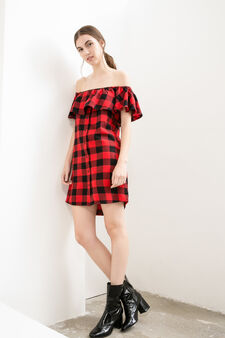 Short dress with check pattern, Black/White, hi-res