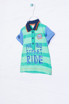 Printed striped polo shirt in 100% cotton, Green, hi-res