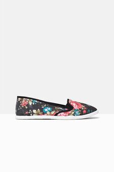 Sneakers slip-on floreali in tela, Nero, hi-res
