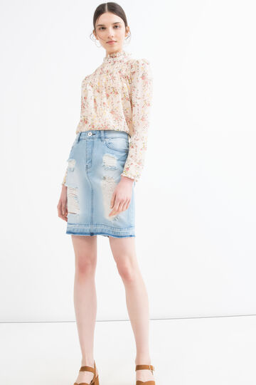 Used-effect denim skirt, Denim, hi-res