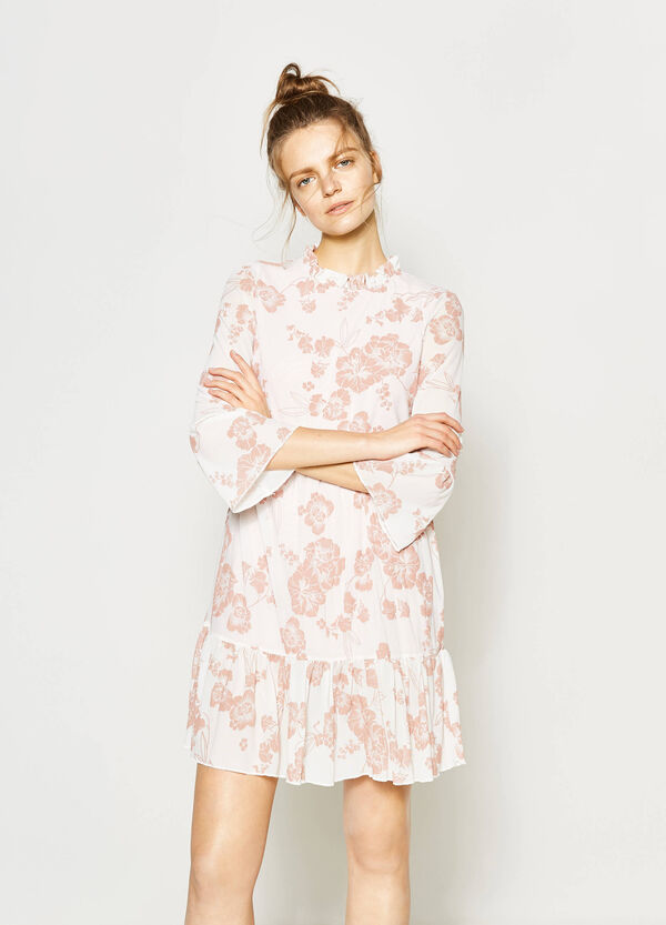 Stretch flower dress with flounce | OVS