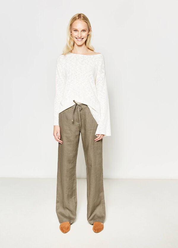Pantalón en lino 100% con bolsillos | OVS