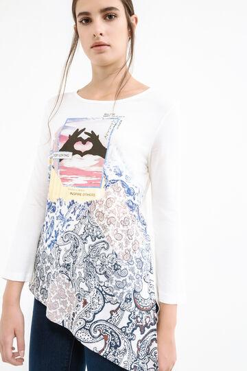 Printed T-shirt with asymmetric hem, Milky White, hi-res