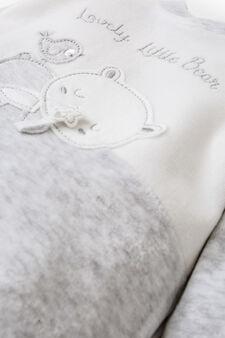 Two-tone cotton blend onesie, Grey Marl, hi-res