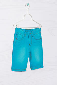 Five-pocket solid colour Bermuda shorts, Turquoise Blue, hi-res