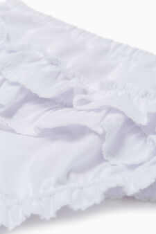100% cotton briefs with frills, White, hi-res