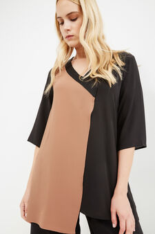 Curvy viscose blouse with asymmetric hem, Multicolour, hi-res